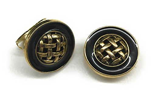 Button Covers Cufflink Plated Gold Black Epoxy center Gold Weave •Button Clips -1 Pair - Alternative to Cufflinks For Regular Shirts ()