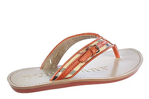 Burberry Damen Leder Flip Flops Zehentrenner Sandalen aldermary haymarket Orangene