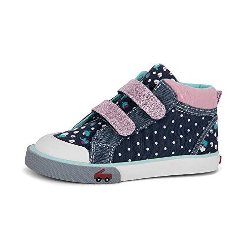 See Kai Run - Kya Sneakers for Kids, Navy Dot Mix, 8 (Top Big Sneakers High Kids)