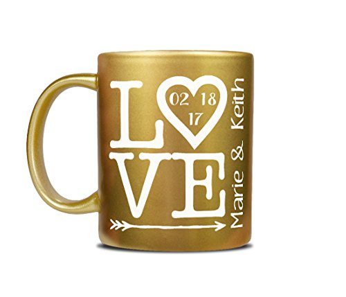 GOLD Romantic Love Design Personalized Valentine's Coffee Mug w/ Couples Name and Established Date Gift for Wife Husband, Bride Groom, Newly Married Engaged Wedding Present