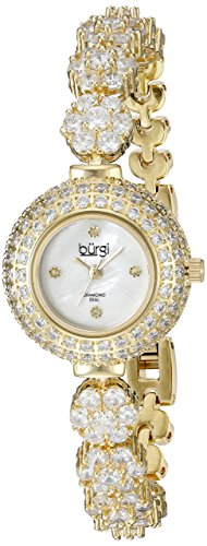 Burgi Women's BUR139YG Crystal Encrusted Diamond Accented Mother-of-Pearl Yellow Gold Bracelet (Diamond Gold Bar Style Bracelet)