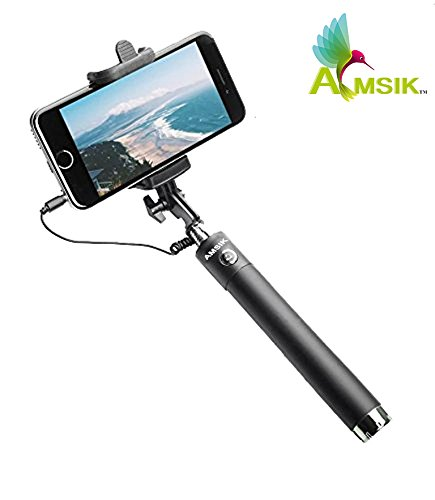 9dc5aa3d0cb18f AMSIK Selfie Stick mini with Aux cable For Apple Iphone 7 Plus - Black:  Amazon.in: Car & Motorbike