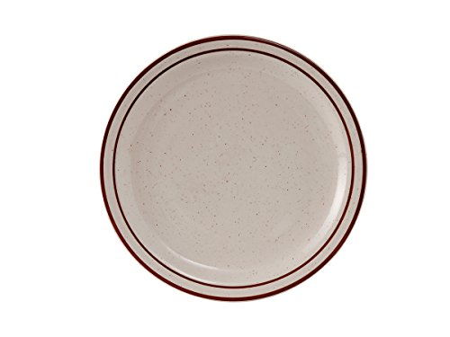 tuxton-tbs-007-vitrified-china-bahamas-plate-narrow-rim-7-1-4-eggshell-with-brown-speckles-and-band-
