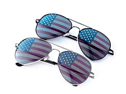 Patriotic Flying Colors - Goson American Flag Mirror Aviator Novelty Decorative Sunglasses (Silver/Black Combo in Black Gift Box)