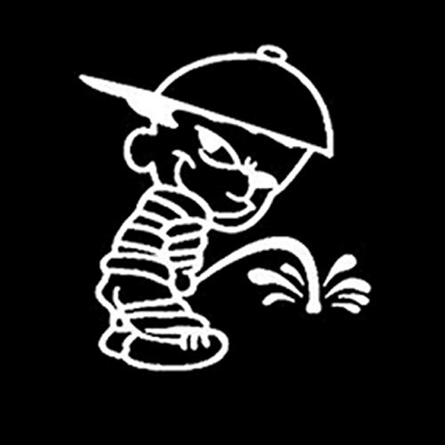 13.9cmX15.5cm Peeing On Haters Boy Funny Vinyl Decals Car Stickers Black/Silver Accessories S6-3314 - Silver