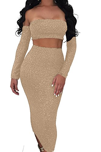 Sunfury Lady Off Shoulder Sexy Open Back Party Dress For Women Cutout Tight 2 Piece Outfits Set Gold - 2 Piece Ladies Dress
