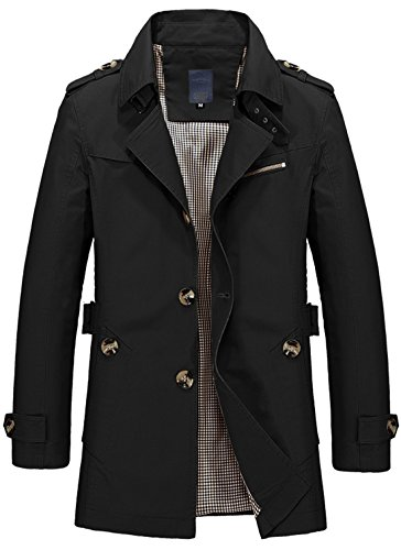 Coat Slim black Trench Lightweight Men's Single Collar 1306 Fit Lapel Breasted Chouyatou tzwPq4x
