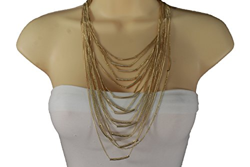 [TFJ Women Fashion Necklace Gold Metal Chain Multi Strings Wave Strands + Fringes Earrings Set] (90s Hip Hop Costume)