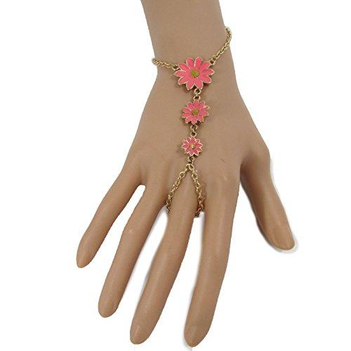 tfj-women-fashion-jewelry-hand-chain-wrist-bracelet-pink-daisy-sun-flower-charm-slave-ring-gold