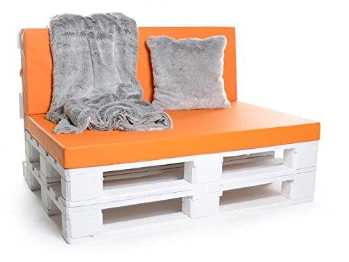 Palettenkissen, Gartenmöbel Auflagen, Sitzbankauflage, Matratzenauflagen auch m. Rückenlehne bzw. Dekokissen in Kunstleder orange, wasserabweisend und strapazierfähig