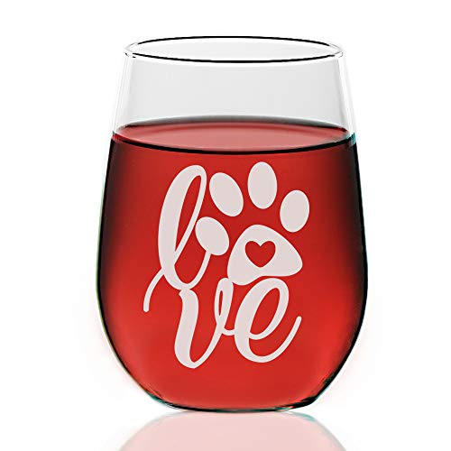 Chloe & Madison Puppy Love Paw Print Dog Engraved Wine Glasses 21 Ounce Clear