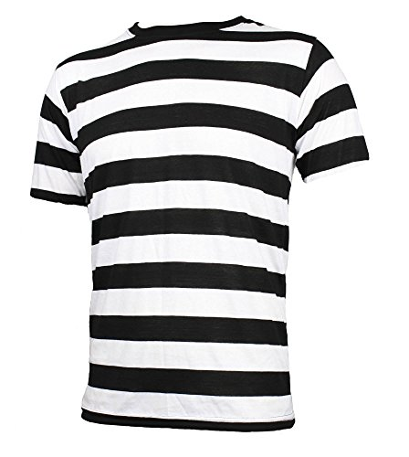 - Largemouth Men's Short Sleeve Striped Shirt Black White (XXL)