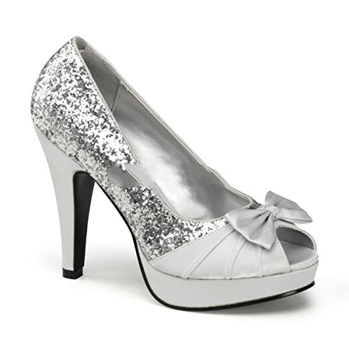 Pinup Couture Bettie-10 Sexy Retro High Heels Plateau Peeptoe Glitter Pumps Silber 35-42