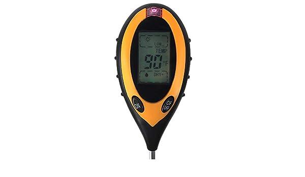 Probador de suelo Digital 5-en-1 Jardiner/ía Higr/ómetro de suelo Term/ómetro de iluminaci/ón Humedad Valor de pH del suelo Medio ambiente Humedad e intensidad de la luz solar para interiores exteriores
