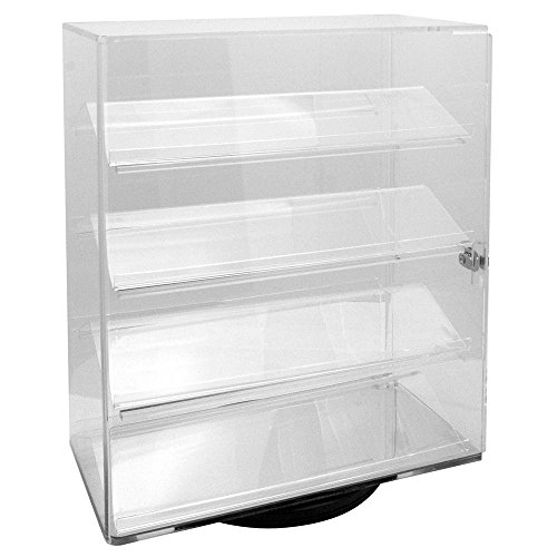 Acrylic Clear Rotating Lucite counter top display with 4 shelves and lock. (Retail Acrylic Display Case compare prices)