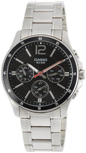 Watch Multifunction Dial (Casio #MTP1374D-1AV Men's Standard Metal Band Multi-Function Black Dial Watch)