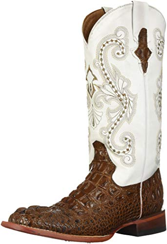 Ferrini Women's Print Hornback Caiman Western Boot, Chocolate, 9 B US