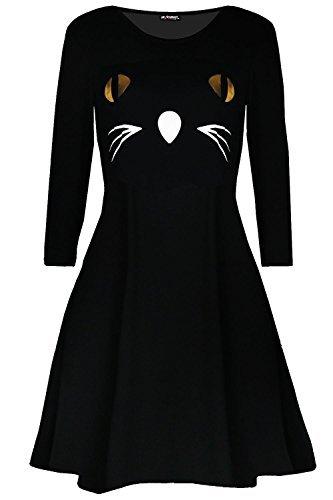 Oops Outlet Mujer Terror Cara De Gato Elegante Disfraz Fiesta De Halloween Amplio Swing Mini Vestido