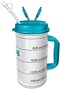 Hydr-8 Water Bottle - Time Marked Air Insulated 32 Ounce Mug