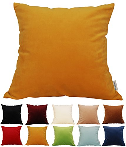 TangDepot Solid Velvet Throw Pillow Cover/Euro Sham/Cushion Sham, Super Luxury Soft Pillow Cases, Many Color & Size Options - (22