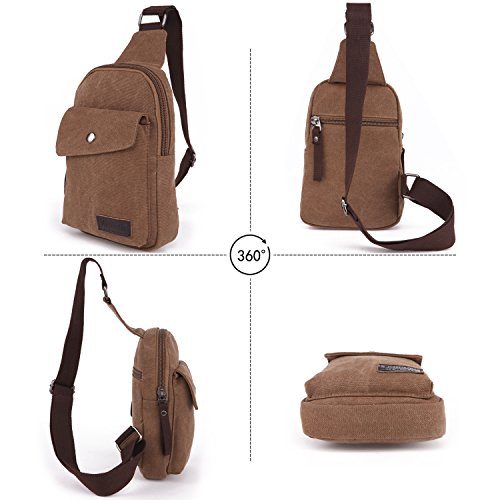 Party Bleu Sac Sling Toile Shoulder Crossbody Bag Grande Brown Respirant Capacité Portable Homme Voyages Bandoulière Étudiants Sport Simple À Fandare femme H4Xfqq