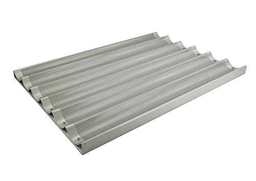 Winco ABP-6L, 18 x 26-Inch 6 Slot Long Aluminum Baguette Pan, Baking French Bread Pan, Perforated Loaf Pan, NSF by Winco