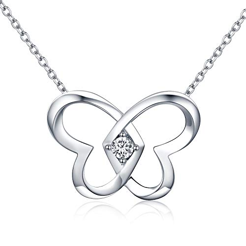 Butterfly Pendant Necklace, White Gold Plated Sterling Silver Butterfly Necklace for Women Girls Friend