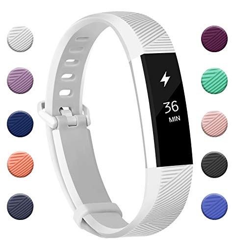 Fundro Compatible for Fitbit Alta Bands, Soft Silicone Replacement Classic Bands Available in Varied Colors with Secure Buckle for Fitbit Alta HR (C# 1-Pack White, Large) ()