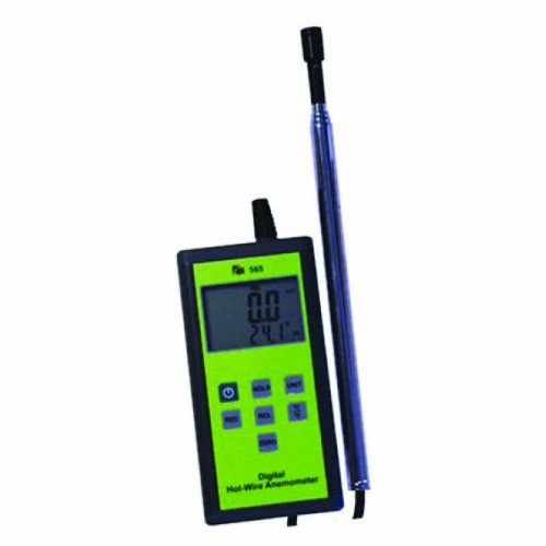 TPI 565C1 Digital Anemometer with Hot-Wire Probe, 0.2 to 20 m/s Velocity, -20 to +80° C Temperature Test Products International Inc