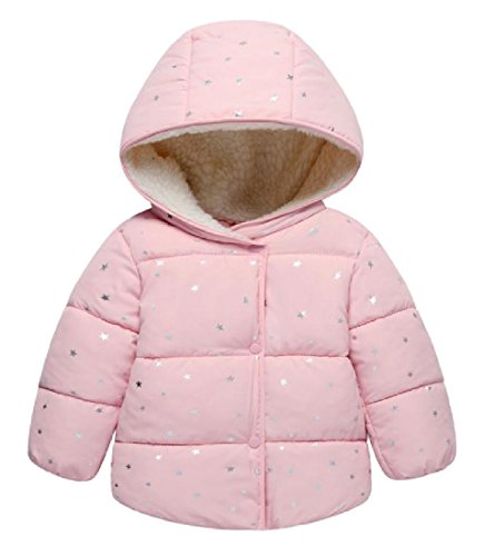 Nicelly Little Boys Girls Solid Warm Comfy Thick Novelty Down Outerwear Coat Pink 110cm