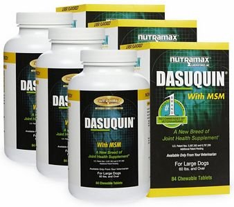 3PACK Dasuquin for Large Dogs 60 lbs. over with MSM (252 Chewable Tabs) by Dasuquin