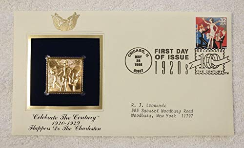 (Flappers do the Charleston - Celebrate the Century (The 1920s) - FDC & 22kt Gold Replica Stamp plus Info Card - Postal Commemorative Society, 1998 - The Roaring Twenties, Dance )