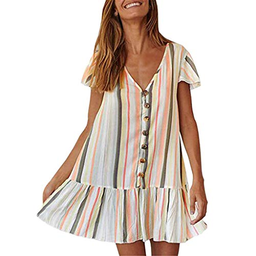 Women Striped Colorful Dress - Ladies Summer Loose V Neck Button Up Ruffle Patchwork Hem Shift Dresses - Casual Loose T Shirts Dress (XL, -