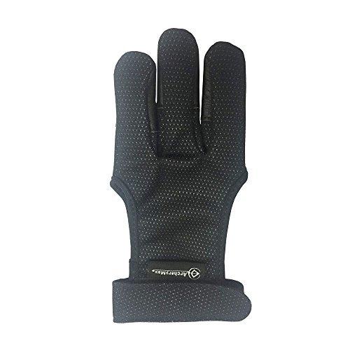 ArcheryMax Handmade Brown Leather Three Finger Archery Gloves (Black, X-Large) by ArcheryMax