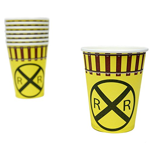 Railroad Sign 12oz Party Paper Cups (For Hot and Cold, 8 Pack) Railroad/Train Party Collection by Havercamp]()