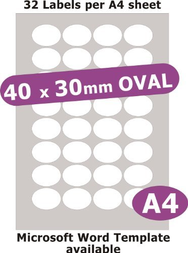Minilabel 40X30mm Oval , 160 Labels , Gloss Paper Laser , 5 A4 Sheets , Laser Printer Stickers ()