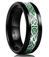 King Will Men's 8mm Green Carbon Fiber Silver Celtic Dragon Tungsten Carbide Ring Comfort Fit Wedding Band