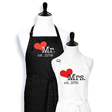 Mr. And Mrs. Aprons Est. 2016 with Heart Wedding Gift for Couples Bridal Shower Engagement Anniversary