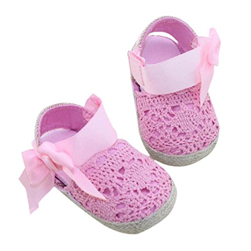 - DZT1968 Baby Girl Handmade Knit Cloth Soft Sole Prewalker Shoes Socks With Bowknot (S (0-6 months), Pink)