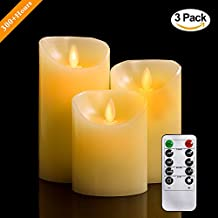 """Flameless Candles, 4"""" 5"""" 6"""" Set of 3 Real Wax Not Plastic Pillars, Include Realistic Dancing LED Flames and 10-key Remote Control with 2/4/6/8-hours Timer Function, 300+ Hours-YIWER (3, Ivory)"""