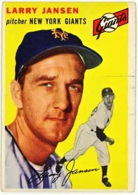 1954 New York Giants Baseball (Larry Jansen - New York Giants (1954 Topps Baseball Card) #200)