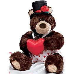 """Plush Valentines Teddy Bear """"Frisco"""" By Gund- Wears White Boxers with Hearts, Top Hat, Bow Tie, Holding Plush Heart."""