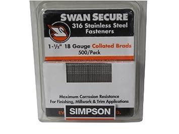 Simpson Swan Secure t18 N150fnb 18 de Gauge 316 Stainless Steel 1 ...