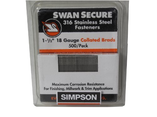 Simpson Swan Secure T18N150FNB 18-Gauge 316 Stainless Steel 1-1|2-Inch Brad Nails, 500 Per Box by Simpson Swan Secure