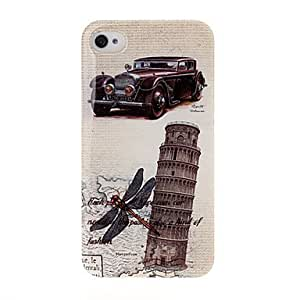 SUMCOM Antique Car and Embossed Leaning Tower Pattern Plastic Hard Case for iPhone 4/4S