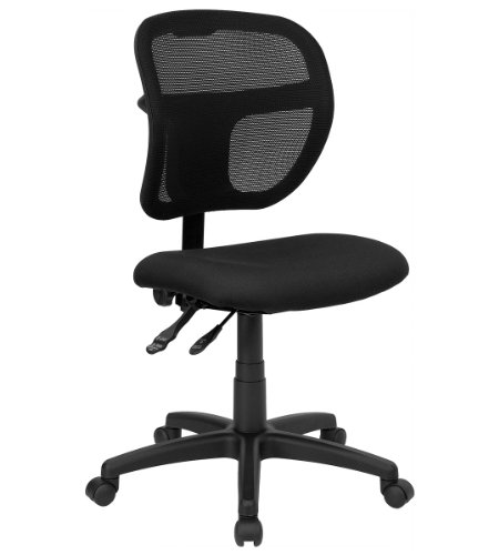 Value Star Mid-Back Mesh Task Chair with Black Fabric Seat