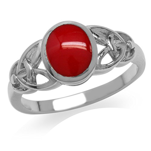 Silvershake Created Red Coral Inlay White Gold Plated 925 Sterling Silver Celtic Knot Ring Size 5