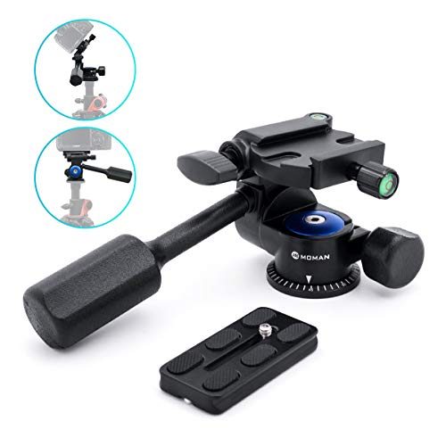 Moman Tripod Fluid Drag Pan Head with Handle and 1/4 Quick Release, Lightweight 3-Ways Panning Ball Head with 22 lb Payload for Tripod Monopod, Slider, DSLR Cameras, Camcorder and Light Stands ()
