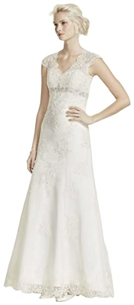 Cap Sleeve Lace Over Satin Wedding Dress Style T3299 At