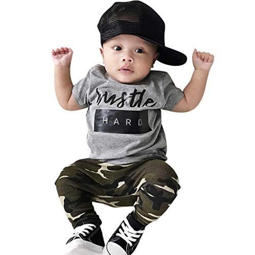 Baby Boys Outfit Clothes Set, Summer Kids Newborn Letter Print t-Shirt Tops Camouflage Pants Trousers Sports Suit (White, 6-12 Months) – The Super Cheap